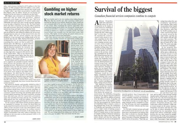 Article Preview: Gambling on higher stock market returns, July 1993 | Maclean's