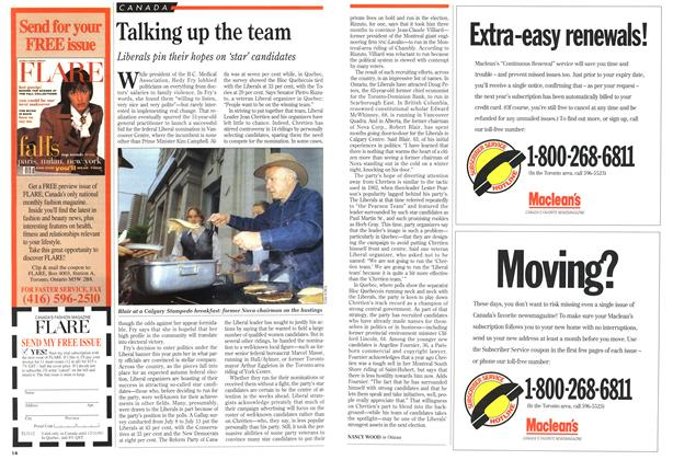 Article Preview: Talking up the team, August 1993   Maclean's