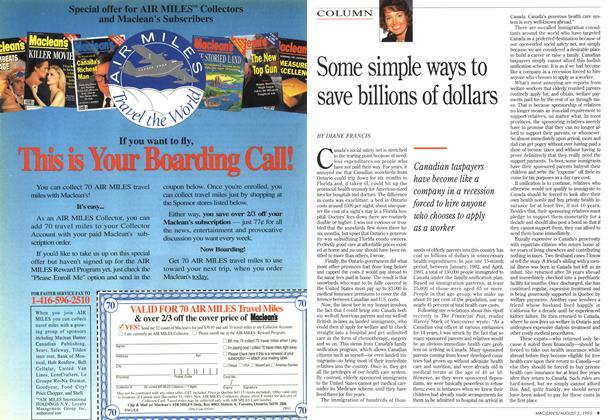 Article Preview: Some simple ways to save billions of dollars, August 1993 | Maclean's