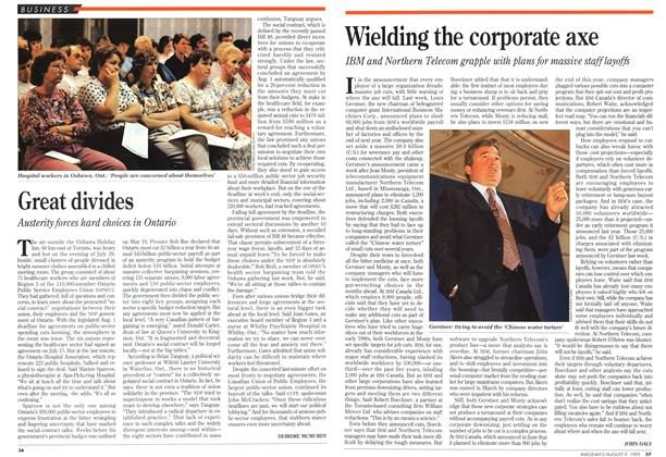 Article Preview: Wielding the corporate axe, August 1993 | Maclean's
