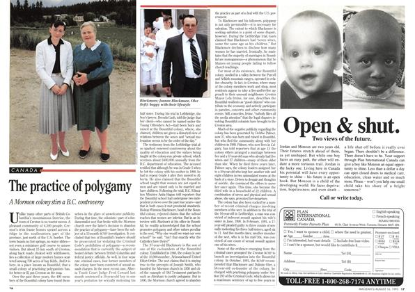 Article Preview: The practice of polygamy, August 1993 | Maclean's