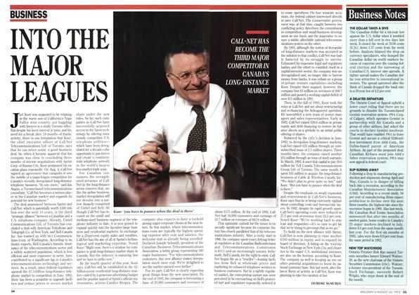 Article Preview: INTO THE MAJOR LEAGUES, August 1993 | Maclean's
