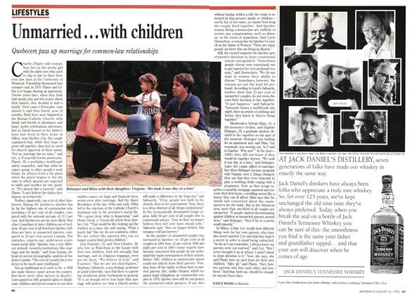 Article Preview: Unmarried...with children, August 1993 | Maclean's