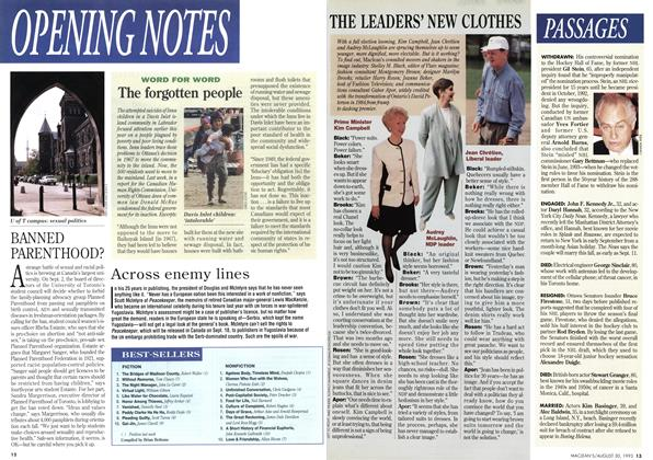 Article Preview: OPENNING NOTES, August 1993   Maclean's