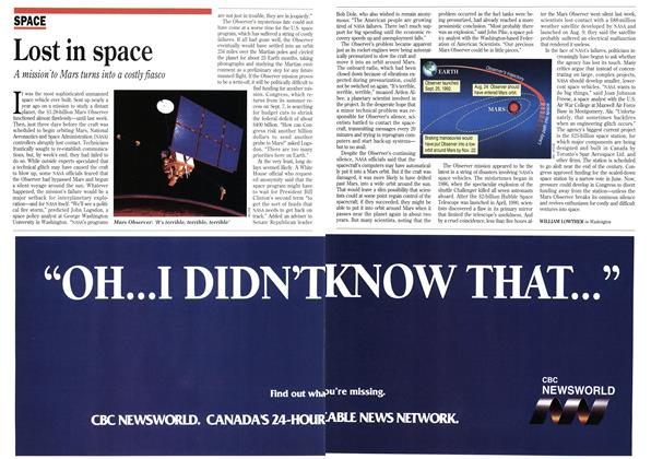 Article Preview: Lost in space, September 1993 | Maclean's