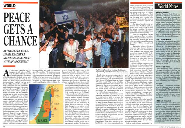 Article Preview: PEACE GETS A CHANCE, September 1993 | Maclean's