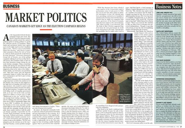 Article Preview: MARKET POLITICS, September 1993 | Maclean's