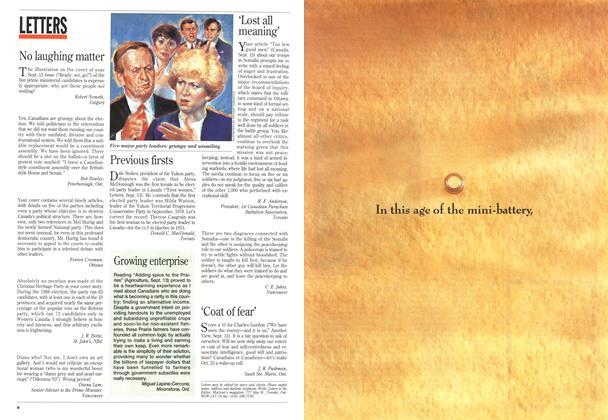 Article Preview: LETTERS, September 1993 | Maclean's