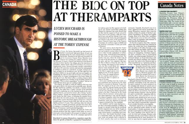 Article Preview: THE BLOC ON TOP AT THE RAMPARTS, October 1993 | Maclean's
