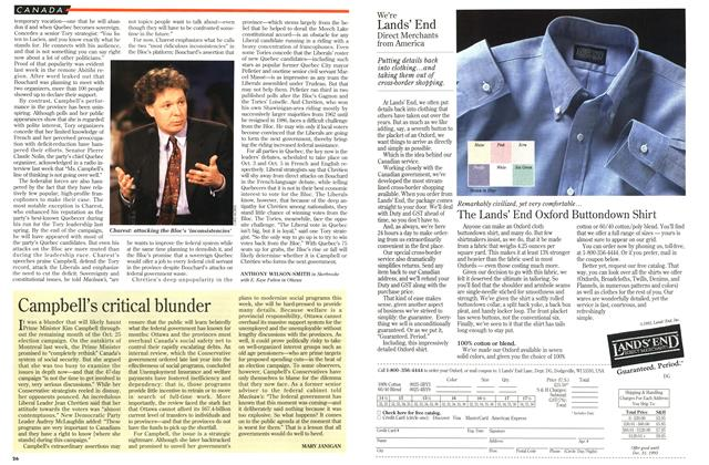 Article Preview: Campbell's critical blunder, October 1993 | Maclean's