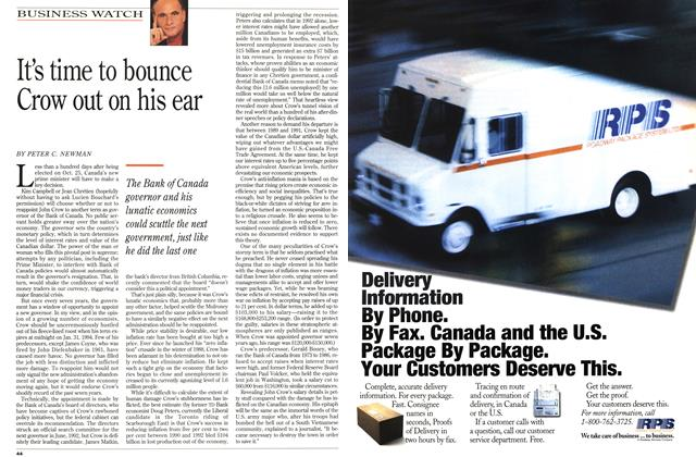 Article Preview: It's time to bounce Crow out on his ear, October 1993 | Maclean's