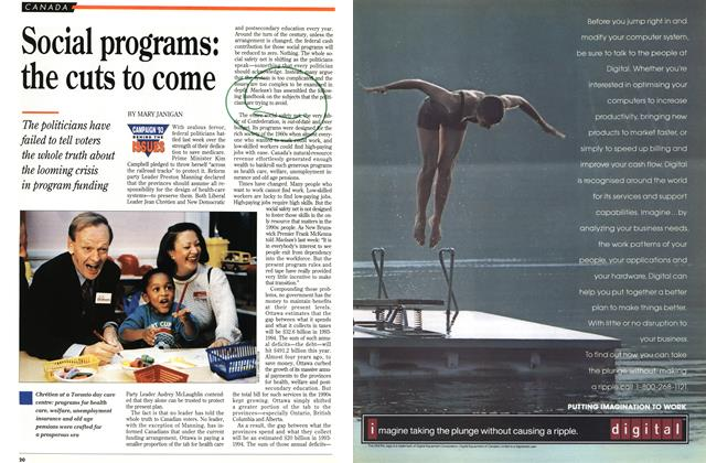 Article Preview: Social programs: the cuts to come, October 1993 | Maclean's