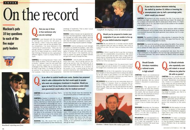 Article Preview: On the record, October 1993 | Maclean's