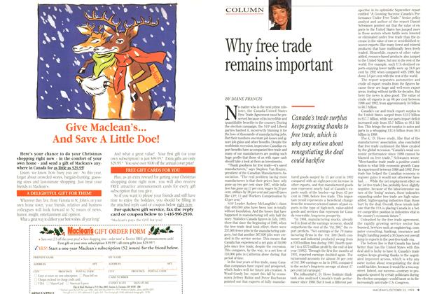 Article Preview: Why free trade remains important, October 1993 | Maclean's