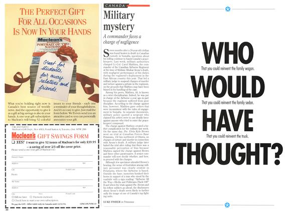 Article Preview: Military mystery, November 1993 | Maclean's
