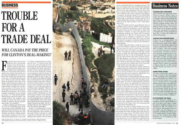 Article Preview: TROUBLE FOR A TRADE DEAL, November 1993 | Maclean's
