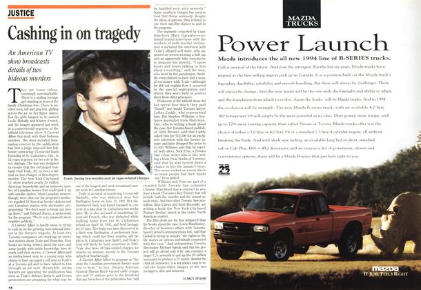 Article Preview: Cashing in on tragedy, November 1993 | Maclean's