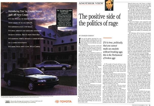 Article Preview: The positive side of the politics of rage, November 1993 | Maclean's