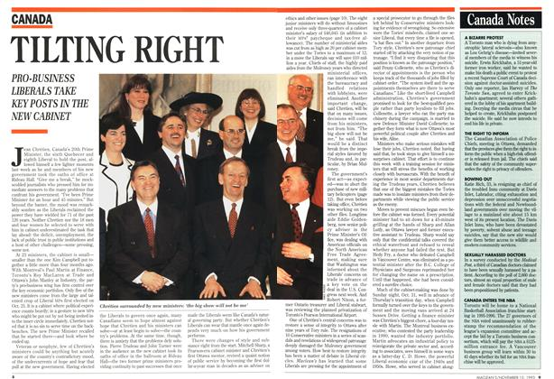 Article Preview: TILTING RIGHT, November 1993 | Maclean's