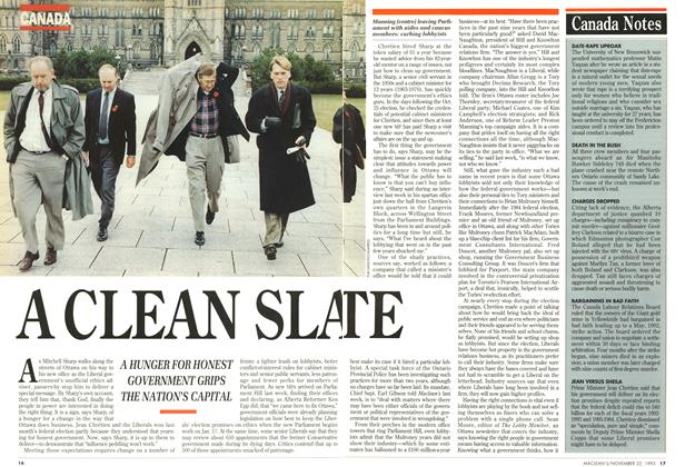 Article Preview: A CLEAN SLATE, November 1993 | Maclean's