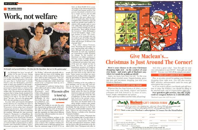 Article Preview: Work, not welfare, December 1993 | Maclean's