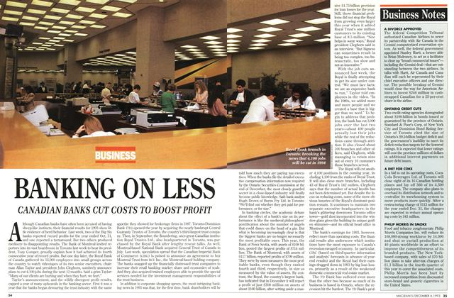 Article Preview: BANKING ON LESS, December 1993 | Maclean's