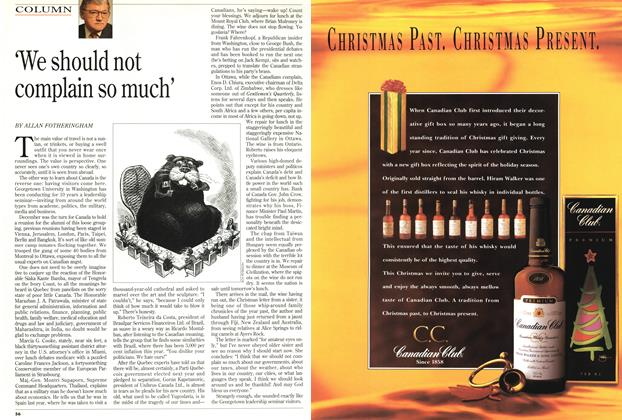 Article Preview: 'We should not complain so much', December 1993 | Maclean's
