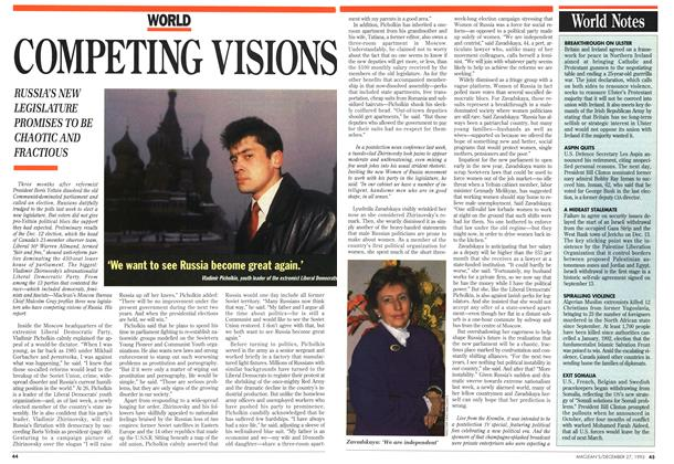 Article Preview: COMPETING VISIONS, December 1993 | Maclean's