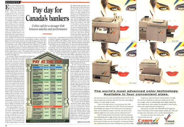 Article Preview: Pay day for Canada's bankers, December 1993 | Maclean's