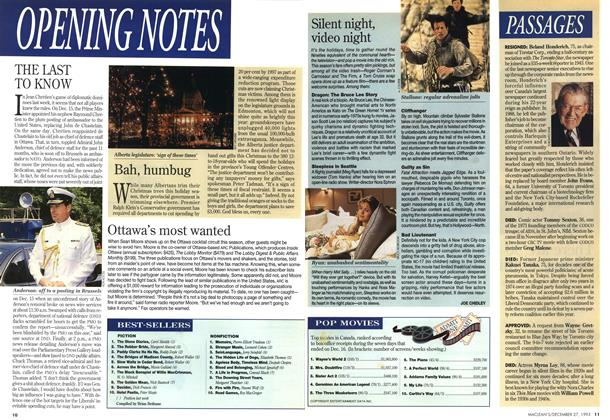 Article Preview: Silent night, video night, December 1993 | Maclean's