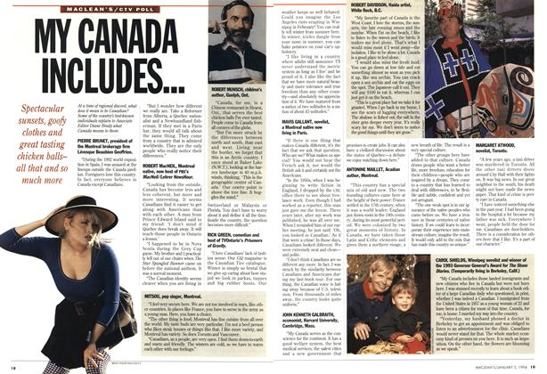 Article Preview: MY CANADA INCLUDES..., January 1994 | Maclean's