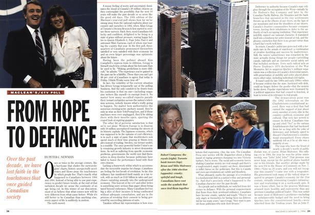 Article Preview: FROM HOPE TO DEFIANCE, January 1994 | Maclean's