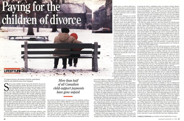 Article Preview: Paying for the childern of divorce, January 1994 | Maclean's