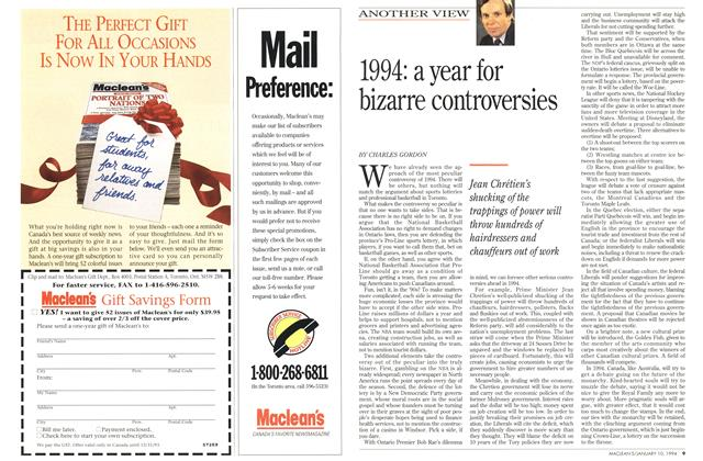 Article Preview: 1994: a year for bizarre controversies, January 1994 | Maclean's