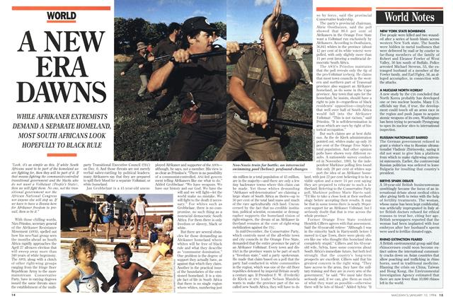 Article Preview: A NEW ERA DAWNS, January 1994 | Maclean's