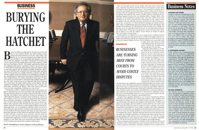 Article Preview: BURYING THE HATCHET, January 1994 | Maclean's