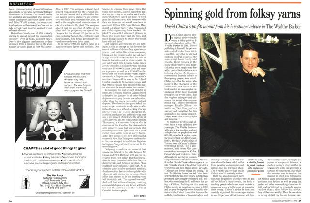Article Preview: Spinning gold from folksy yarns, January 1994 | Maclean's