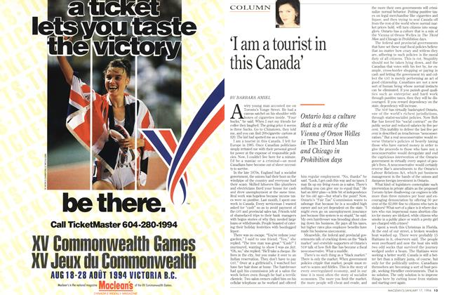 Article Preview: 'I am a tourist in this Canada', January 1994 | Maclean's