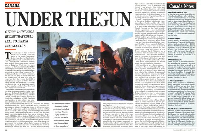Article Preview: UNDER THE GUN, January 1994 | Maclean's