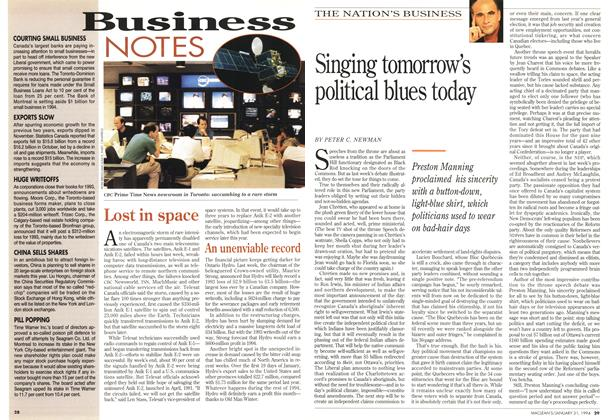 Article Preview: Singing tomorrow's political blues today, January 1994 | Maclean's