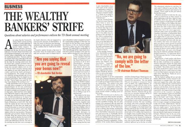 Article Preview: THE WEALTHY BANKERS' STRIFE, February 1994 | Maclean's