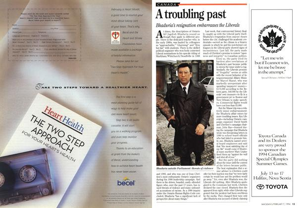 Article Preview: A troubling past, February 1994 | Maclean's