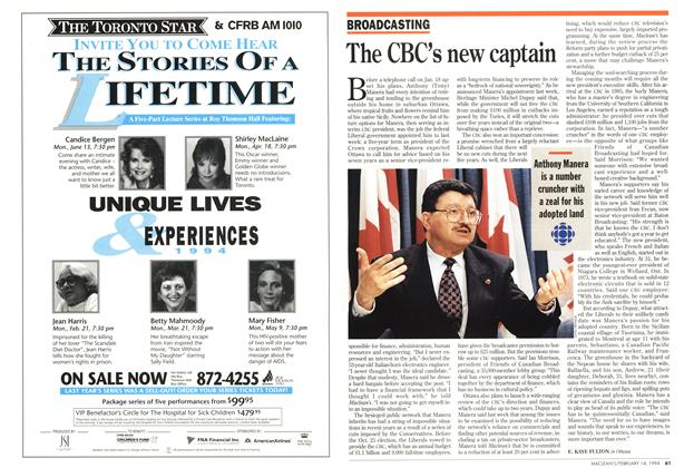 Article Preview: The CBC's new captain, February 1994 | Maclean's