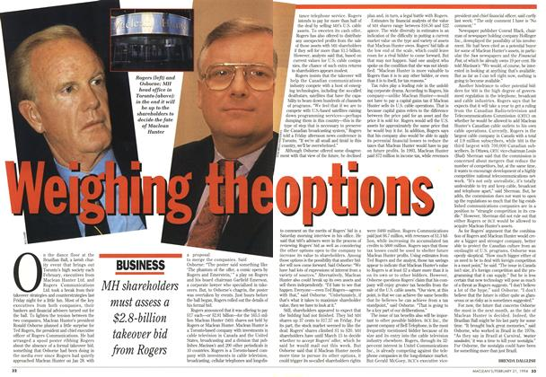 Article Preview: Weighing the option, FEBRUARY 21 , 1 994 1994 | Maclean's