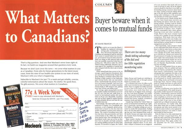 Article Preview: Buyer beware when it comes to mutual funds, FEBRUARY 21 , 1 994 1994 | Maclean's