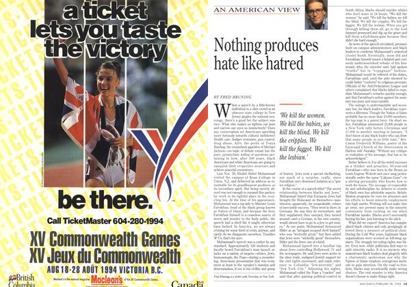 Article Preview: Nothing produces hate like hatred, February 1994 | Maclean's