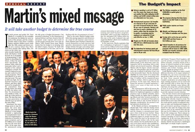 Article Preview: Martin's mixed message, March 1994   Maclean's
