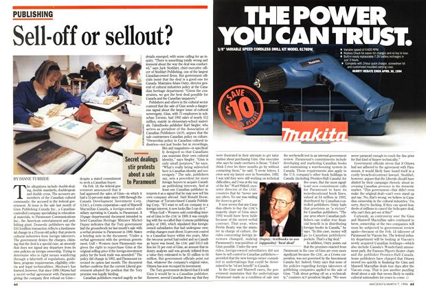 Article Preview: Sell-off or sellout?, March 1994 | Maclean's