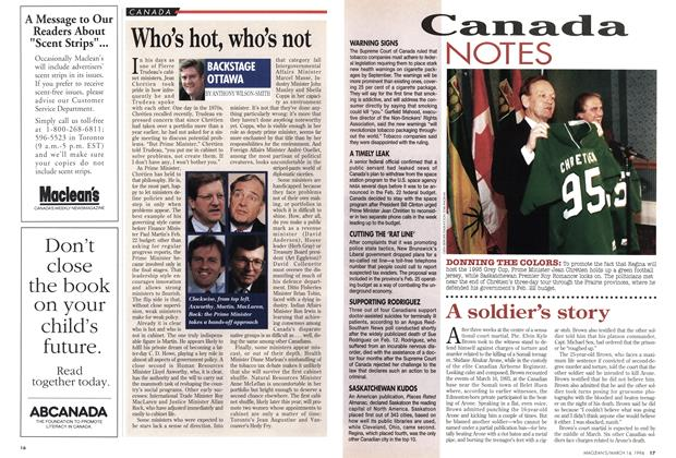 Article Preview: Who's hot, who's not, March 1994 | Maclean's