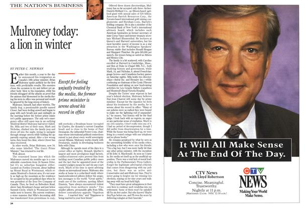 Article Preview: Mulroney today: a lion in winter, March 1994 | Maclean's